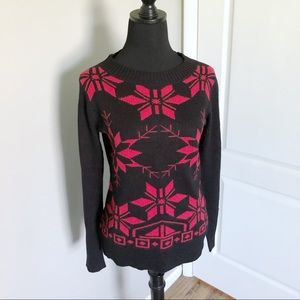 Woolrich Black Wool Blend Sweater Snowflake Motif